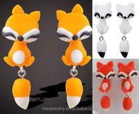 2015 Hot sale Handmade Lovely Cute Animal fox polymer clay stud earrings dangle jewelry for girl