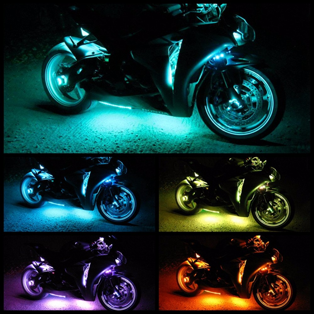 Super bright smd 5050 50w rf music controlled million color motorcycle underbody led glow strip light 5g 5g aloadofball Image collections