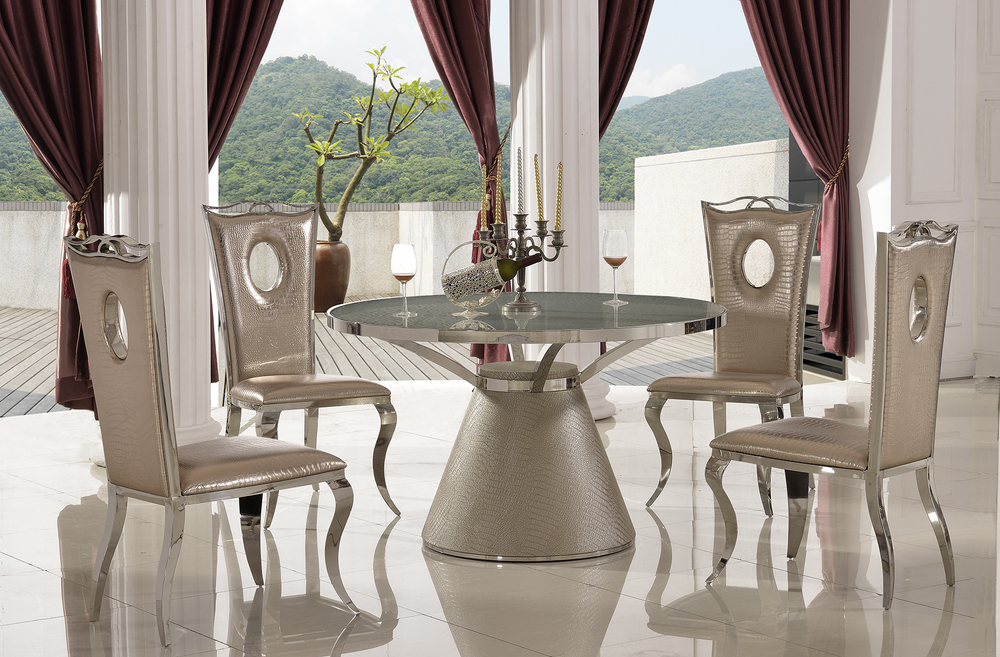 Th379 Modern Stainless Steel Cheap Round Glass Dining