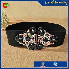 Ladies wide elastic belts with crystal /women diamond elastic belts