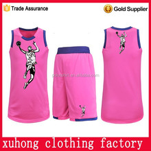 OEM ODM youth popular sets basketball jersey pink