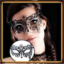 Halloween party princess show black metal ball set auger half face mask