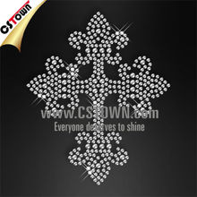 Rhinestone cross iron on transfer motif design