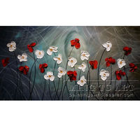 100% Handmade Palette Knife Flower Blossom Acrylic Painting on Canvas Thick Textured Art