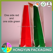 One side red and one side green paper bags for food