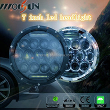 Standard 7'' 75w jeep led headlight 75W high-low beam LED driving light for jeep wrangler,motorcycle with H4 and H13 connector