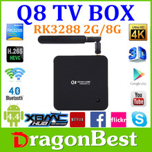 Q8 Rockchip RK3288 Android 4.4 TV Box Quad Core 1.8GHz 2G/8G XBMC 4K*2K H.265 2.4GHz/5GHz Dual WiFi OTG USB Smart TV Box