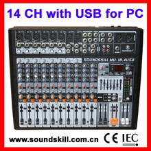 14 channel Professional Desk Mixer with USB interface, 4 band Channel EQ, 7 band graphic equalizer