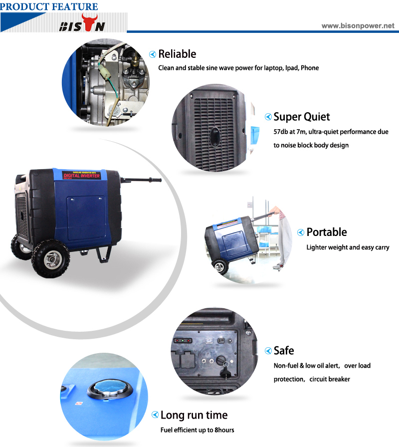 6.3kw Diesel Engine Inverter Generator with Handle and Wheels BS-X7000 8