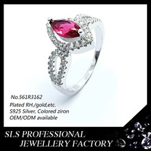 925 sterling silver jewelry wholesale fashion rings Pear-shaped diamond ring for women