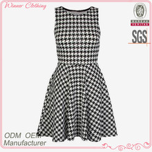 fashion design office/formal black and white dress with knee length and boat neck