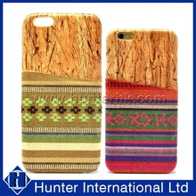 Hot Design Wood+Cloth Card Slot Case For iPhone6