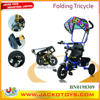 Top grade kids folding tricycle with sunshade