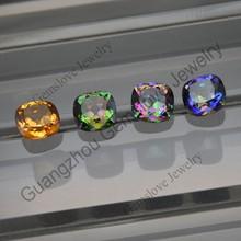 Different Plated Colors Mystic Quartz Based on Natural Quartz Cushion Checkerboard Mystic Quartz