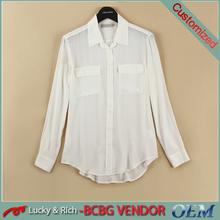 Personalizados diseño mujeres blanco blusa de seda