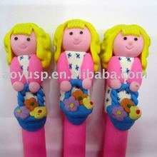 Girl with hair shaped polymer clay ballpoint pen