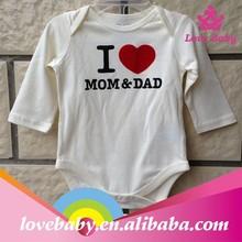 100% cotton soft comfortable fabric romper cute love Dad&Mom baby romper