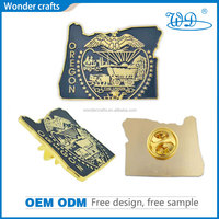High quality with low price souvenir 3D custom design unique shape aluminium alloy gold metal lapel pin with butterfly clutch