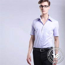 200 grams Guangzhou spandex/polyester mens white color dress shirt with tie