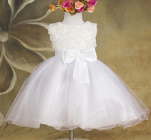 white flower kids fashion party dress good price fashion dress for girl guangzhou wholesale fancy design for girls wear