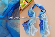 Fancy cheap gradient printed polyester chiffon scarf