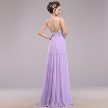 Real Picture fashion women Sexy halter long crystal backless Chiffon evening dresses