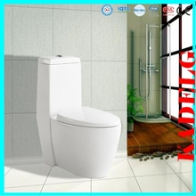 Compact to wall porcelain one piece toilet