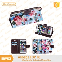 For iphone 6 plus case,BRG Colorful flowers Pattern Premium PU Leather case with Magnetic Closure