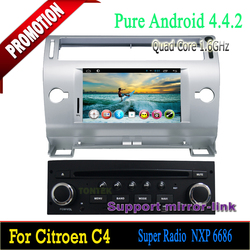 Android 4.4 quad core touch screen car dvd with can-bus for Citroen C4 2004-2010 support Steering wheel control