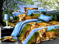 free sample gold lion king size dubai powerful duvet cover 4pcs cotton 3d printed bedding set
