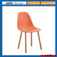 GY-616 Plastic dining chair with wood legs