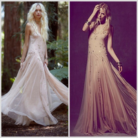 Romantic Hippie Spaghetti Straps Sex Free Prom Dress 2015 Prom Dresses Japanese Prom with