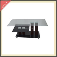 2014 hot design camel color tempered glass cheap black acrylic table with two layers coffee table CT021