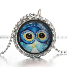 Halloween holiday owl necklace jewelry owl image/picture/photo pendant jewelry, glass tile jewelry