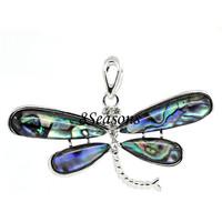 Silver Tone Multicolor W/Clear Rhinestone Dragonfly Shell Charm Pendants 6.1x4.2cm