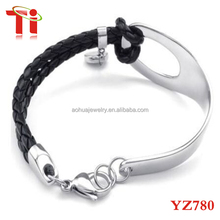 Womens Leather Stainless Steel Bracelet, Braided Bangle, Black Silver