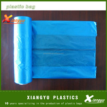 Sky blue poly garbage bags on roll