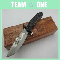 Damascus Steel Fixed Blade Knife In Wood Display Case