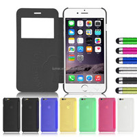 Hot Selling Single Window Pu Leather Pc Back Case For Iphone 6 for Iphone 6 Plus
