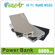 2015 New Arrival Fast Charging Mobile Power Bank External Battery 6000mAh Portable Charger For Samsung