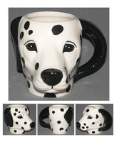 Dalmatian head Black ceramic mug