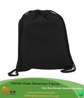 Black Plain Cotton School Bag Drawstring Backpack Tote Gym Rucksack