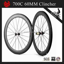 xiamen cheap carbon bicycle wheels 60mm clincher carbon race cycle bike wheel with novatec hub pillar 1432 spokes alloy nipples
