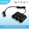 Black three way cigarette adapter 2 port USB Car Charger for mobile phone
