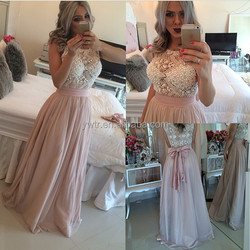Custome new fashion sexy lace crocheted sleeveless round collar pink dress long dress Bohemian style Casual Dresses