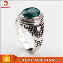 Fancy Gemstone Emerald Agate Rings 925 Sterling Silver Rings