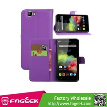 High Quality Magnetic Litchi PU Leather Wallet Case for Wiko Rainbow w/ Stand