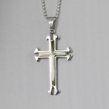 Cool stainless steel double crucifixion nicklace Pendant jewelry wholesale for man
