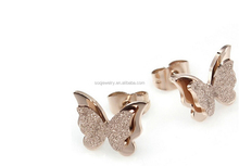 factory hot sell stainless steel butterfly stud earrings latest charm style hot sell