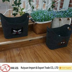 2015 New products !!! living room Cute cat design 5 mm felt storage basket for sundries